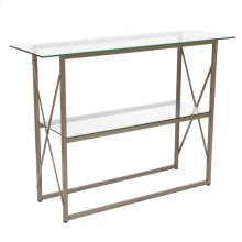 Glass Console Table with Matte Gold Frame