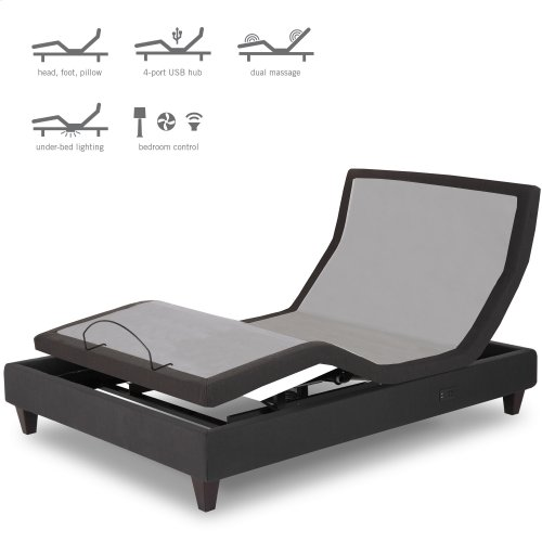 P-232 Furniture Style Adjustable Bed Base with Upholstered Frame and LPConnect, Charcoal Black Finish, Full XL