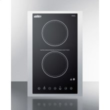 """115v 2-burner Cooktop In Black Ceramic Schott Glass With Digital Touch Controls and Stainless Steel Frame To Allow Installation In 15"""" Wide Counter Cutouts"""