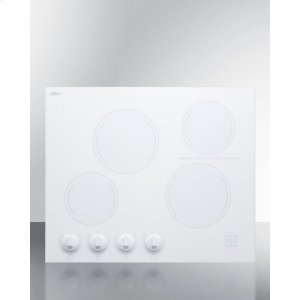 "Summit24"" Wide 4-burner Radiant Cooktop Made In France With White Ceramic Glass Surface"