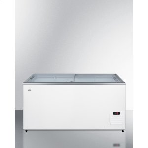 SummitFlat Top Commercial Ice Cream Freezer With Sliding Glass Lid, Digital Thermostat, Novelty Baskets, and 15 CU.FT. Capacity