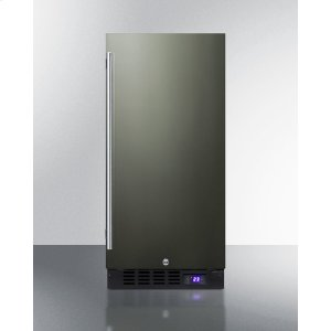 "Summit15"" Wide Frost-free Freezer for Built-in or Freestanding Use, With Reversible Black Stainless Steel Door and Lock"