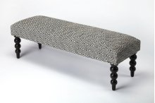 Place this bench in the hall or foyer of your home for the perfect place to sit as you take off your shoes at the end of a long day. Its masterfully crafted black rounded Mango wood solid legs support a stylish black-and-white diamond design, urethane foa