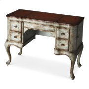 This vanity is every bit as practical as it is beautiful. Crafted from poplar hardwood solids and wood products, it features a Rustic Blue hand painted finish with a heavily distressed cherry veneer top. Side doors open for jewelry storage. Top sides open Product Image