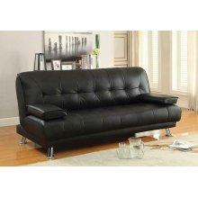 Contemporary Black and Chrome Sofa Bed