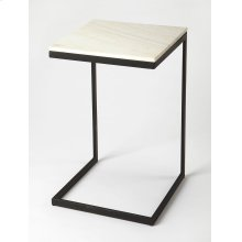 Glamour and minimalism intersect in the design of this modern end table. Elegantly finished in black, its iron base supports a cool white marble top.
