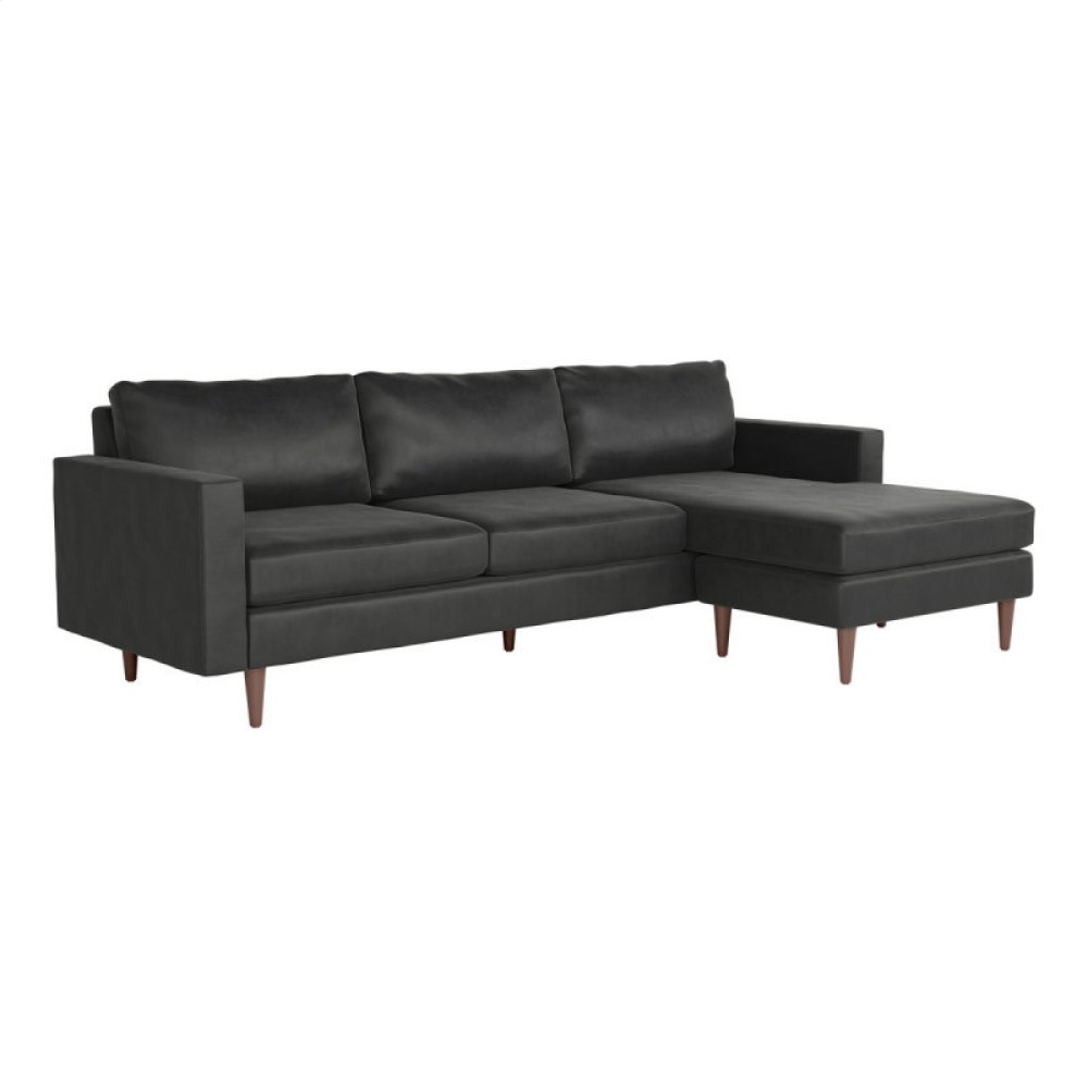 Kace Sectional Charcoal Velvet
