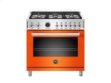36 inch Dual Fuel Range, 6 Brass Burner, Electric Self-Clean Oven Orange