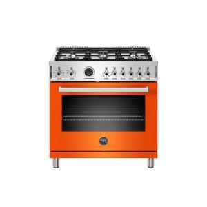 Bertazzoni36 inch Dual Fuel Range, 6 Brass Burner, Electric Self-Clean Oven Orange