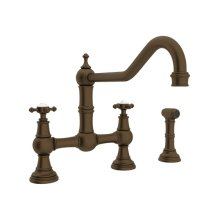English Bronze Perrin & Rowe Edwardian Bridge Kitchen Faucet With Sidespray with Cross Handle