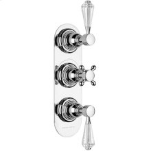 Non Lacquered Brass Trim set for V132-AIS thermostatic valve - 2 way diverter with volume control for 3rd outlet