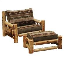 Cedar Log Frame Ottoman - Chair-and-a-Half - Standard Fabric - Includes Fabric and Cushion