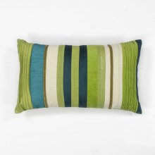 "L169 Teal Green Stripes Pillow 12"" X 20"""