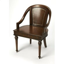 Opulent old world charm gets a new view. This sophisticated accent chair is yours to place almost anywhere in your home. This style will not go unnoticed due to the attention to details; rich brown gemelina wood and maple veneers enhance the richness of t