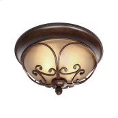 Loretto Flush Mount in Russet Bronze with Riffled Tannin Glass