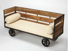 Add extra seating to any room with this, iron and Mango wood, entry bench. This unique bench features a sturdy Mango wood frame and inline caster feet. The top is generously padded and features arm roll pillows with ivory fabric for comfortable seating. D