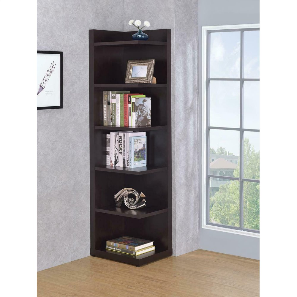 Transitional Cappuccino Corner Bookcase