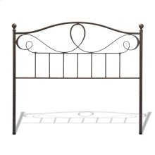 Sylvania Metal Headboard with Curved Grill Design and Finial Posts, French Roast Finish, Queen