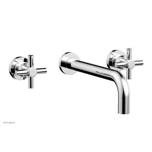 "Basic Wall Tub Set 10"" Spout - Tubular Cross Handles D1134-10 - Polished Chrome"