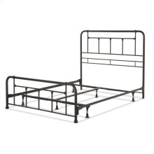 Baldwin Complete Metal Bed and Steel Support Frame with Detailed Castings, Textured Black Finish, Queen