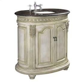 Belle Foret 36 in. W Single Basin Vanity with Brown Calico Marble Top in Antique Parchment