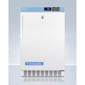 """SummitADA Compliant 20"""" Wide Built-in Undercounter All-refrigerator for Healthcare Applications, Frost-free With an Internal Fan, External Digital Controls and Thermometer, and Lock"""