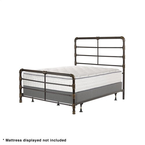 Everett Complete Metal Bed and Steel Support Frame with Industrial Pipe Design, Brushed Copper Finish, California King