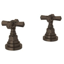 "Tuscan Brass San Giovanni Set Of Hot & Cold 1/2"" Sidevalves with Cross Handle"