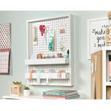 Wall Mounted Pegboard With Trays