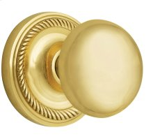 Nostalgic - Single Dummy Knob - Rope Rosette with New York Knob in Unlacquered Brass