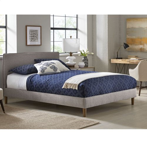 Elsinore Complete Upholstered Bed and Bedding Support System with Dark Gray Headboard Piping, Soft Gray Finish, King