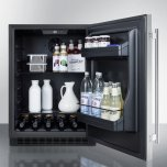 Summit Built-in Undercounter ADA Compliant All-refrigerator With Stainless Steel Door, Black Cabinet, Door Storage, Lock, and Digital Controls