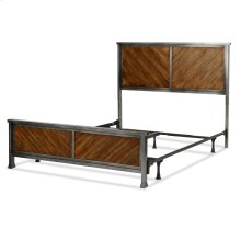Braden Complete Metal Bed and Steel Support Frame with Rustic Reclaimed Faux Wood in Diagonal Pattern Frame, Rustic Tobacco Finish, King