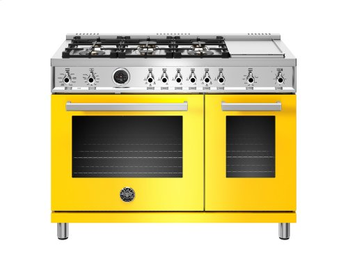 48 inch Dual Fuel Range, 6 Brass Burners and Griddle , Electric Self Clean Oven Yellow