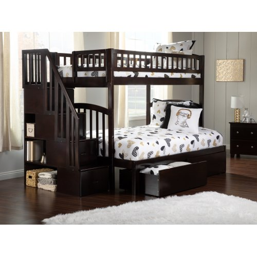 Westbrook Staircase Bunk Bed Twin over Full with Urban Bed Drawers in Espresso
