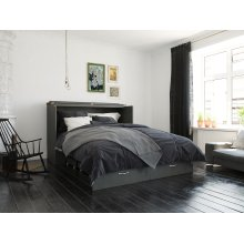 Hamilton Murphy Bed Chest Queen Atlantic Grey with Charging Station