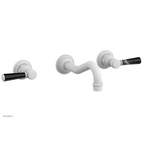 HENRI Wall Tub Set - Marble Lever Handles 161-58 - Satin White