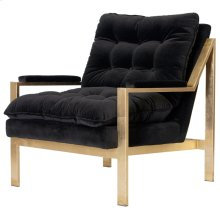 Gold Leaf Arm Chair W. Blk Velvet Cushions