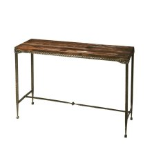 All rustic all the time... and perpetually elegant in its simplicity, this console table is hand-crafted from acacia solid wood and iron. Its burnt umber top and hammered pewter finish base complement one another perfectly, as it evokes the honesty and s