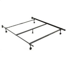 "Restmore Adjustable PLQ45R Posi-lock Bed Frame with Fixed Headboard Brackets and (4) 2"" Locking Rug Roller Legs, Powder Coat Finish, Full - Queen"