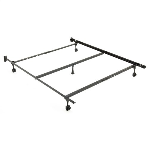 """Restmore Adjustable PLQ45R Posi-lock Bed Frame with Fixed Headboard Brackets and (4) 2"""" Locking Rug Roller Legs, Powder Coat Finish, Full - Queen"""