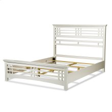 Avery Complete Bed with Wood Frame and Mission Style Design, Cottage White Finish, Queen