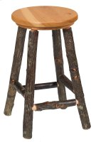 """Hickory Round Counter Stool with Antique Oak Seat - 24"""" (Non-Swivel) Product Image"""