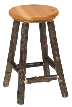 "Hickory Round Counter Stool with Rustic Maple Seat - 24"" (Non-Swivel)"