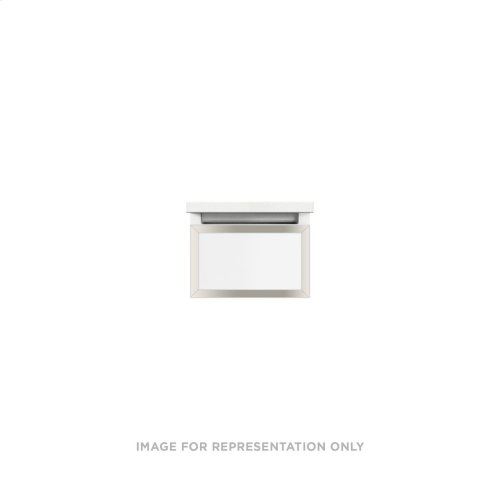 """Profiles 12-1/8"""" X 7-1/2"""" X 18-3/4"""" Framed Slim Drawer Vanity In Beach With Polished Nickel Finish, Slow-close Full Drawer and Selectable Night Light In 2700k/4000k Color Temperature"""