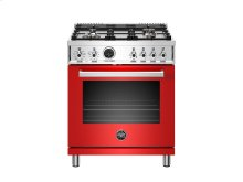 30 inch Dual Fuel Range, 4 Brass Burner, Electric Self-Clean Oven Red