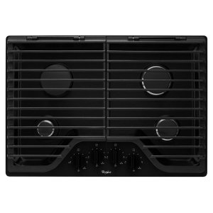 30 inch Gas Cooktop with EZ-2-Lift Hinged Cast-Iron Grates - BLACK