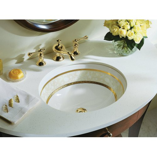 Flight of Fancy - Gold With Gold Accents On Caxton Under-mount Bathroom Sink