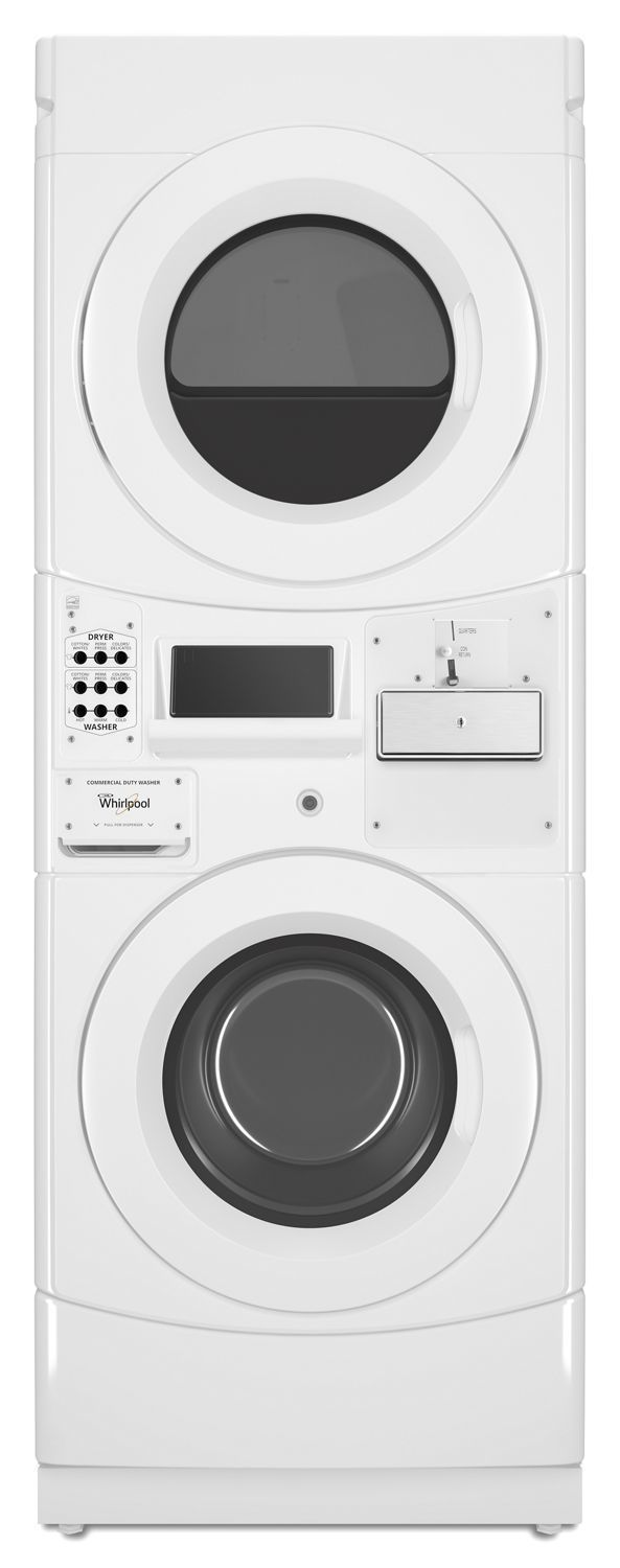 WhirlpoolCommercial Electric Stack Washer/dryer, Coin Equipped White