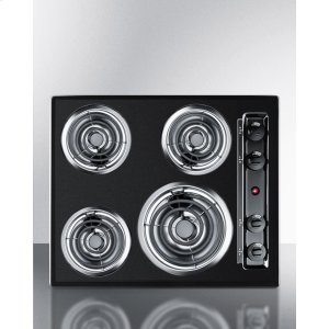 """Summit24"""" Wide 220v Electric Cooktop In Black With 4 Coil Elements"""